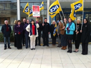 PCS members, supported by the trades council, take a stand against privatisation